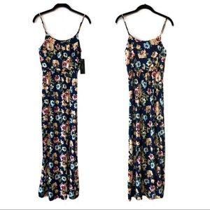 NWT Love Ryan navy floral blouson maxi dress small